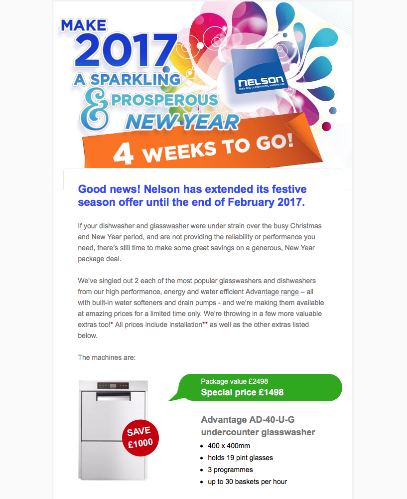 Nelson Dishwashers Email Campaign